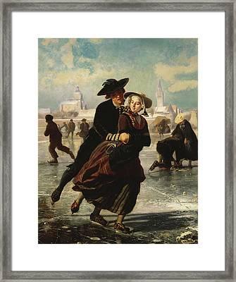 Lovers Skating Framed Print by Adolf Alexander Dillens