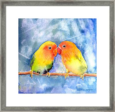 Lovey Dovey Lovebirds Framed Print by Arline Wagner