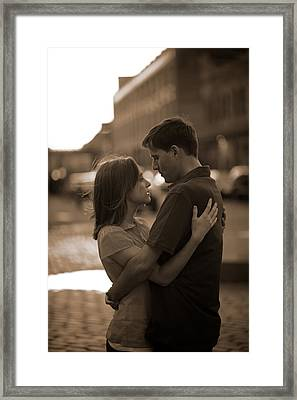 Loving Couple Looking Into Each Others Framed Print by Gillham Studios
