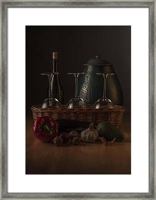 Low Key Still Life Composition For A Kitchen Framed Print by Julis Simo