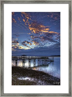 Low Tide Long Dock Framed Print by Phill Doherty