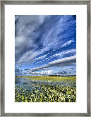 Lowcountry Flood Tide And Clouds Framed Print by Dustin K Ryan