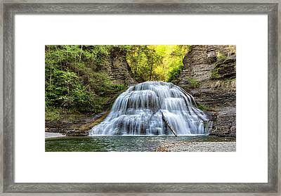 Lower Falls At Treman State Park Framed Print by Stephen Stookey