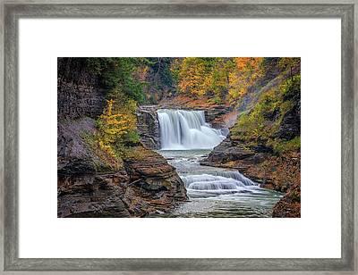 Lower Falls In Autumn Framed Print by Rick Berk