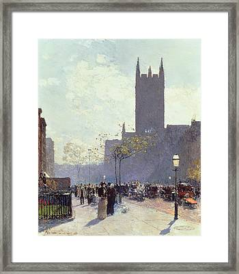 Lower Fifth Avenue Framed Print by Childe Hassam