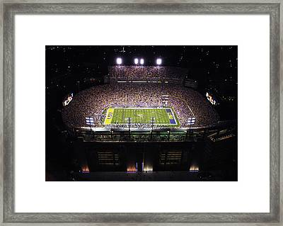 Lsu Aerial View Of Tiger Stadium Framed Print by Louisiana State University