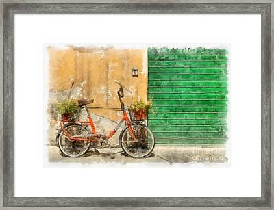 Lucca Italy Bike Watercolor Framed Print by Edward Fielding