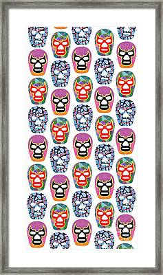 Lucha Libre Masks Framed Print by Edward Fielding