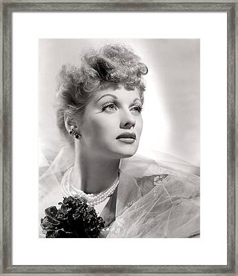Lucille Ball Portrait With Gauze, 1940s Framed Print by Everett