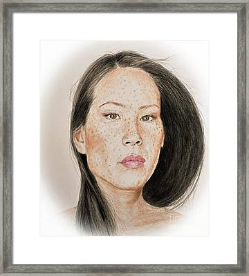 Lucy Liu Freckled Beauty Framed Print by Jim Fitzpatrick