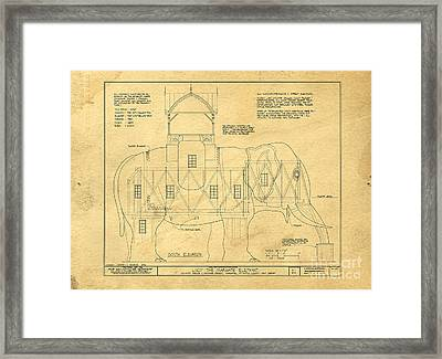 Lucy The Elephant Building Patent Blueprint  Framed Print by Edward Fielding