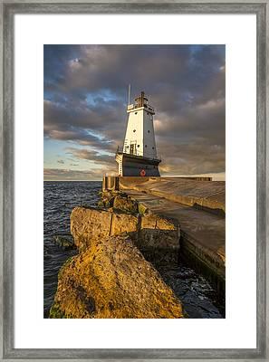 Ludington North Breakwater Lighthouse At Sunrise Framed Print by Adam Romanowicz