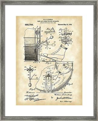 Ludwig Drum And Cymbal Foot Pedal Patent 1909 - Vintage Framed Print by Stephen Younts