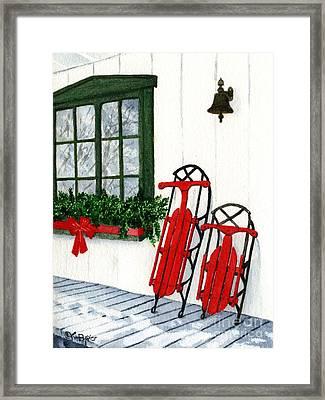 Luges De Noel Framed Print by Caroline Boyer