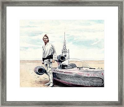 Luke Skywalker On Tatooine Star Wars A New Hope Framed Print by Laura Row