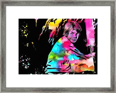 Luke Skywalker Paint Splatter Framed Print by Dan Sproul