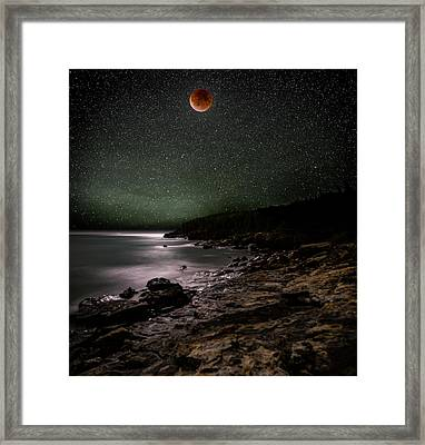 Lunar Eclipse Over Great Head Framed Print by Brent L Ander