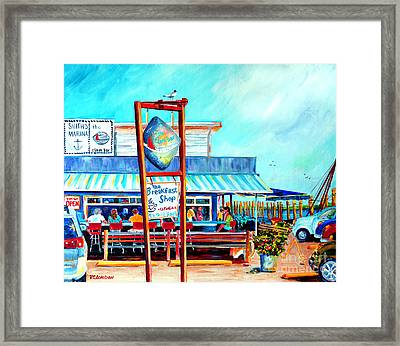 Lunch At The Clam Bar Framed Print by Phyllis London