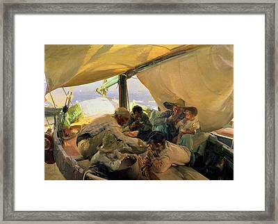 Lunch On The Boat Framed Print by Joaquin Sorolla y Bastida