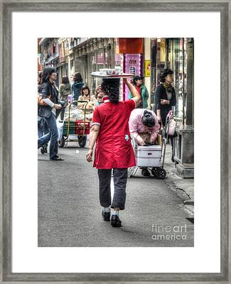 Lunch Run In Namdaemun Framed Print by Michael Garyet