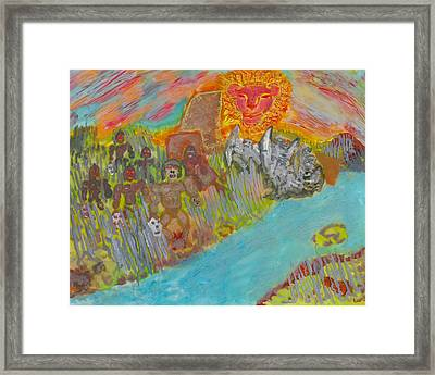 Lune Double Sided Glass Painting Framed Print by AR Teeter