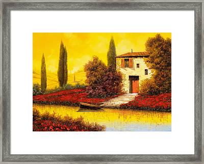 Lungo Il Fiume Tra I Papaveri Framed Print by Guido Borelli