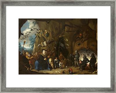 Luther In Hell Framed Print by Egbert van Heemskerck II