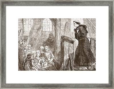 Luther Preaching In The Old Wooden Church At Wittemberg Framed Print by English School