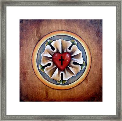 Luther's Rose - Natural Framed Print by Tanya Nevin