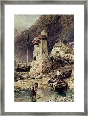 Lynmouth In Devonshire Framed Print by Myles Birket Foster