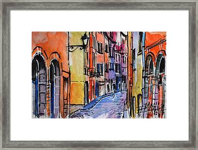 Lyon Cityscape - Street Scene #01 - Rue Saint Georges Framed Print by Mona Edulesco