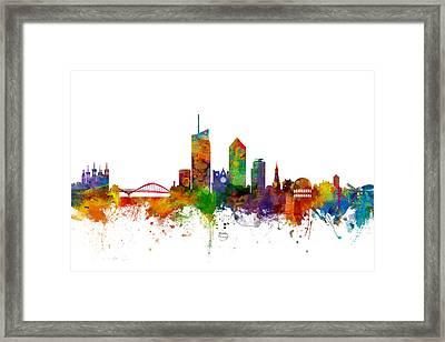 Lyon Skyline Cityscape France Framed Print by Michael Tompsett