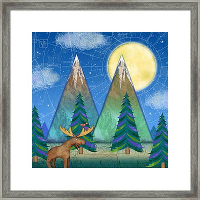 M Is For Mountains And Moon Framed Print by Valerie Drake Lesiak
