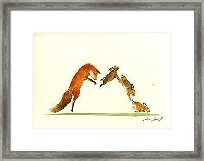 M Letter Woodland Animals Framed Print by Juan  Bosco