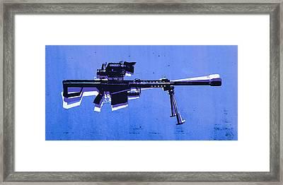 M82 Sniper Rifle On Blue Framed Print by Michael Tompsett