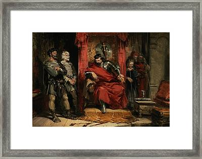 Macbeth Instructing The Murderers Employed To Kill Banquo Framed Print by George Cattermole