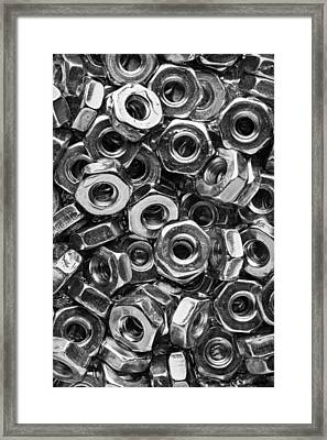 Machine Screw Nuts Macro Vertical Framed Print by Steve Gadomski