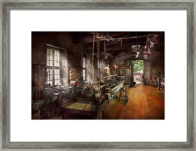 Machinist - Lathe - A Long Lathe Framed Print by Mike Savad