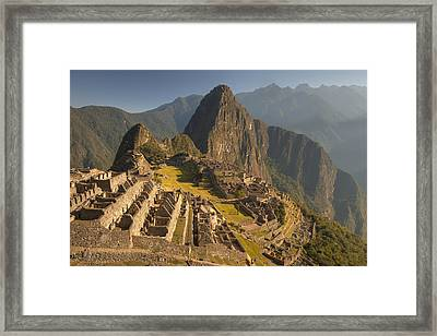 Machu Picchu At Dawn Near Cuzco Peru Framed Print by Colin Monteath