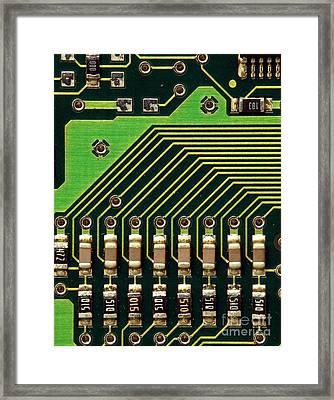 Macro Image Of A Computer Motherboard Framed Print by Yali Shi