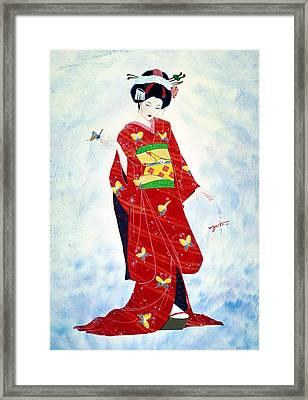 Madam Butterfly Asian Art  Framed Print by John YATO