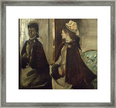 Woman In Hat Framed Print featuring the painting Madame Jeantaud In The Mirror by Edgar Degas