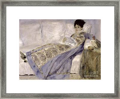 Madame Monet On A Sofa Framed Print by Pierre Auguste Renoir