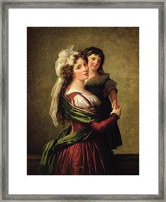 Madame Rousseau And Her Daughter Framed Print by Elisabeth Louise Vigee Lebrun