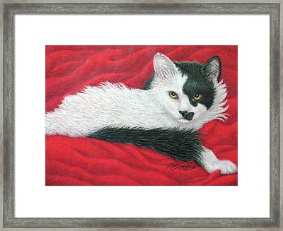 Maddie In Red Framed Print by Beverly Fuqua