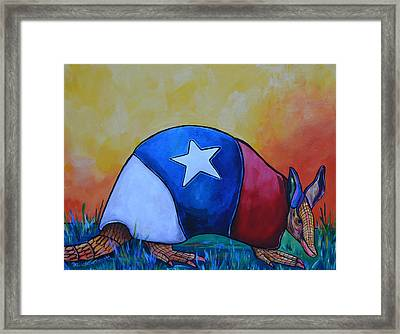 Made In Texas Armadillo Framed Print by Patti Schermerhorn