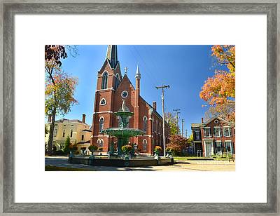 Madison Church And Water Fountain Framed Print by Amy Lucid