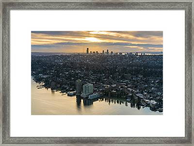 Madison Park And The Seattle Skyline Framed Print by Mike Reid