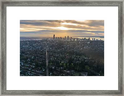 Madison Park Towards The Seattle Skyline Framed Print by Mike Reid