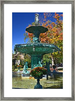 Madison Water Fountain In Fall Framed Print by Amy Lucid